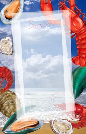 Skaldjur skaldjursmeny på en havs bakgrund