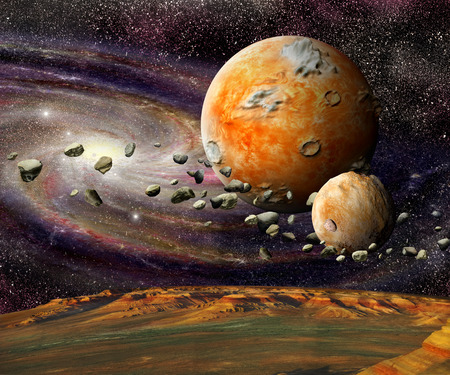 alien planet: View of the mountains Earth from space alien planet and asteroid belt on a spiral galaxy background