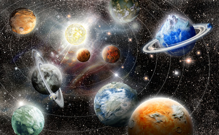 alien planet star system in space Stock Photo