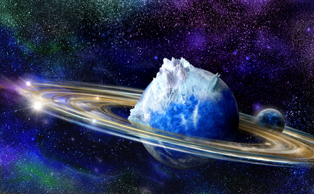 numerous: Alien blue planet with numerous rings and one moon in space Stock Photo
