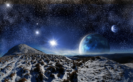 mountain landscape: night mountain landscape on a background of outer space and two months