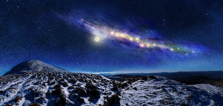 cosmos: Night space landscape. Milky way galaxy over mountains