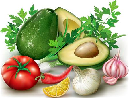 cilantro: Group of vegetables on a white background. Ingredients for Guacamole avocado guacamole, cilantro, lemon, tomato, onion, pepper and garlic.