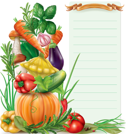 Vegetables and spices vertical composition and Paper for Notes. Vector illustration
