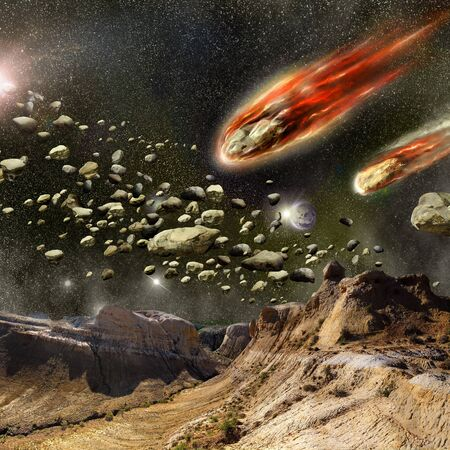 fireballs: the surface of the planet on the background of asteroids and meteorites burning in the atmosphere Stock Photo