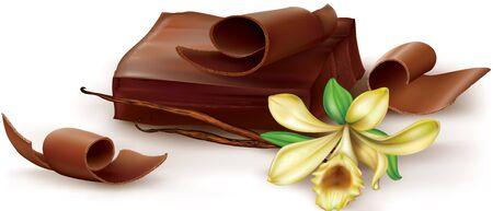 vainilla flor: bloque de chocolate y vainilla enrollamiento con la flor en el fondo blanco. ilustración