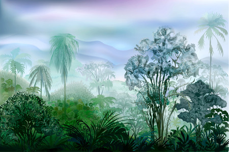 Misty wet wilderness rainforest. Vector landscape