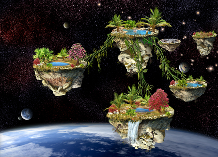 planet earth: Fantasy world islands on a dark space planets background