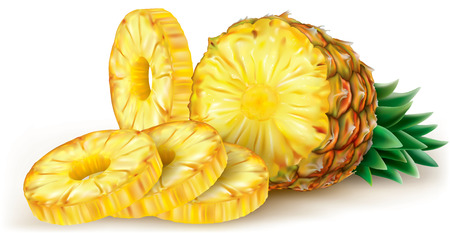 Cut pineapple and round slices. Vector illustration Illustration