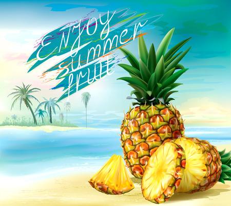 Cut pineapple and round slices on a tropical background. Vector illustration Illusztráció