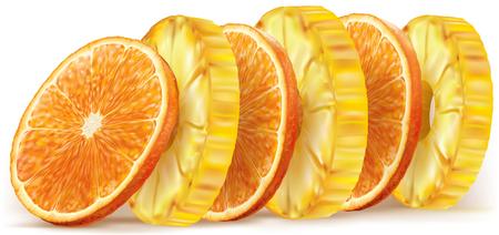 Pineapple and orange fruit round slices