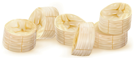 appetizers: Whole and peeled bananas with slices on white Illustration