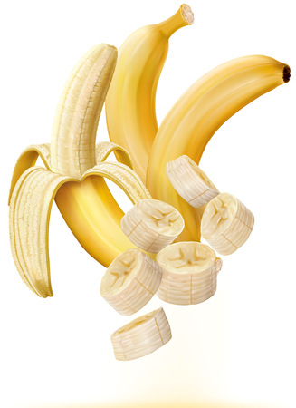 peeled banana: Whole and peeled bananas with slices on white Illustration
