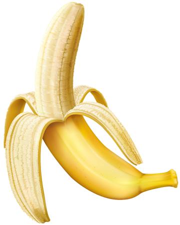 Peeled banana on a white background