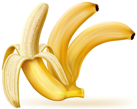 appetizers: Whole and peeled bananas on white