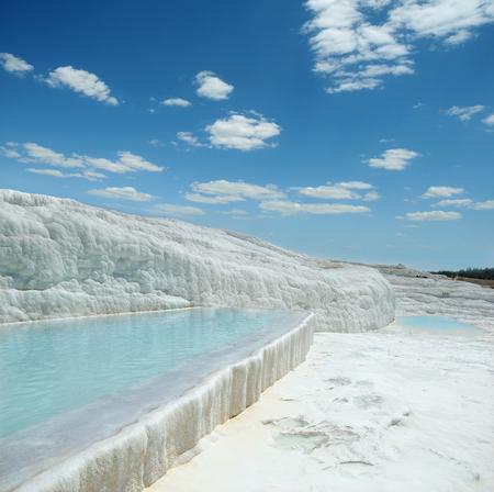pamukkale: Natural travertine pools of Pamukkale in Turkey. Stock Photo