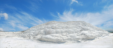 Panoramic view of an travertine and terraces in Pamukkale, Turkey