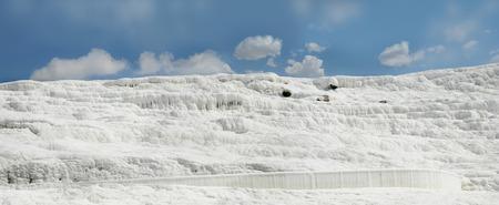 pamukkale: Panoramic view of an white wall on travertines, Pamukkale, Turkey