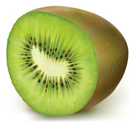 sliced fruit: Half kiwi fruit sliced. vector illustration