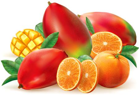 オレンジとマンゴーの葉とスライス フルーツ。ベクトル図