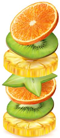 frutas tropicales: Frutas tropicales rebanadas redondas apiladas verticalmente. ilustración vectorial