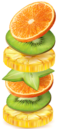 Tropical fruits round slices stacked vertically. Vector illustration