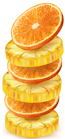 Pineapple and orange fruit round slices stacked vertically. Vector illustration