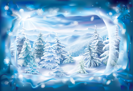 panoramic nature: View of winter landscape through frozen snowy frame Illustration