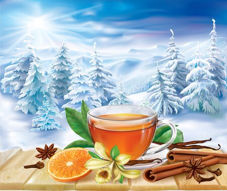 anise: Tea with orange slice and spices on a background of a winter landscape