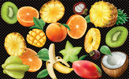 various slices of tropical fruits on black semi transparent background. Vector