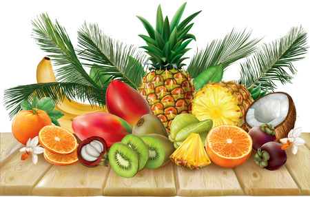 Composition of tropical fruits, which include halves and whole fruits on wooden base. Vector illustration
