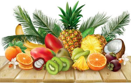 Samenstelling van tropische vruchten, die halve en hele vruchten op houten base omvatten. vector illustratie