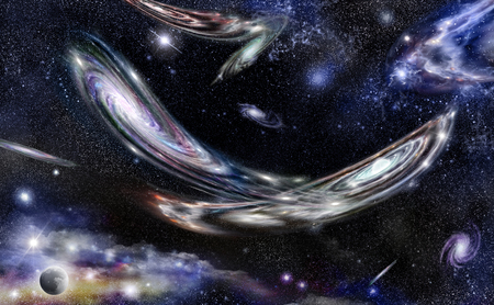 Colliding of two spiral galaxies against the background of outer space