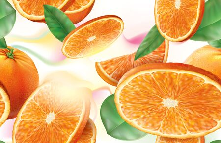 Vector background oranges fruits with slices and leaves
