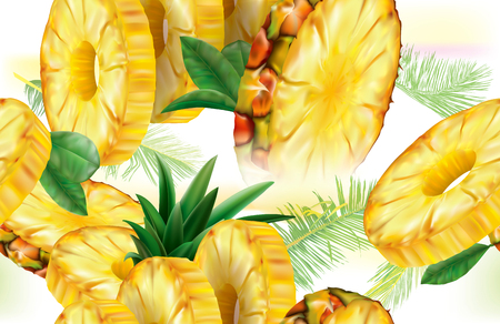 Vector background slices pineapple fruits with leaves Illustration