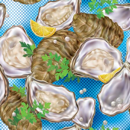 Oyster meat in the shell on a blue transparent background. Vector illustration