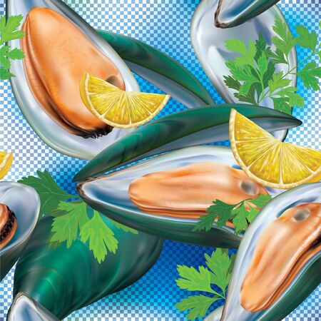 Mussels meat in the shell on a blue transparent background. Vector illustration