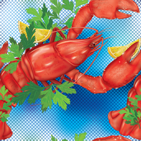 gourmet meal: Lobster on a blue transparent background. Vector illustration