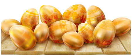 Decorated golden easter eggs on a wooden background. Vector illustration Illustration