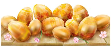 Decorated golden easter eggs on a wooden surface. Vector illustration