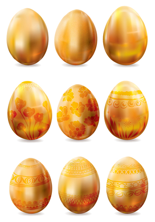 Set of decorated golden easter eggs on white background. Vector illustration