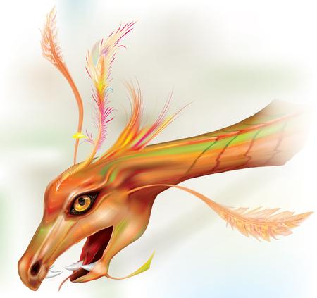 Dragons head like a lizard prehistoric pterodactyl. vector illustration