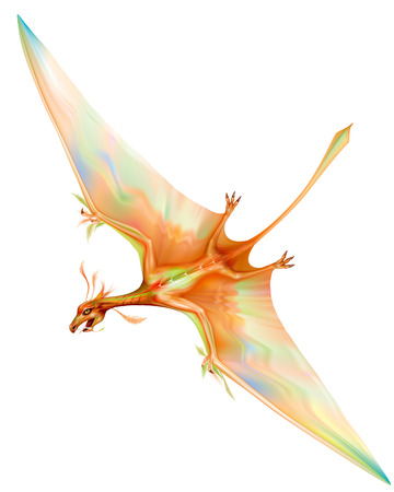 Long tailed pterosaur in flight with outstretched wings. vector illustration Illustration