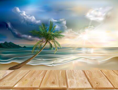beach sunset: Wooden boards on the background of evening sea landscape. Vector illustration Illustration