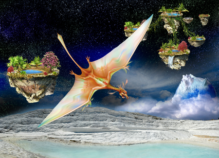 Pterosaur flying between the fantasy islands above the white mountains