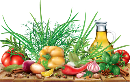 Aromatic Spices and Herbs with oil, pepper, onion, tomato on a wooden table. Vector illustration Stock Vector - 88748447