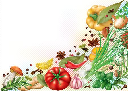 Aromatic spices, herbs and vegetables design