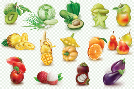 Set with colorful fruits and vegetables on a transparent background. Realistic vector illustration