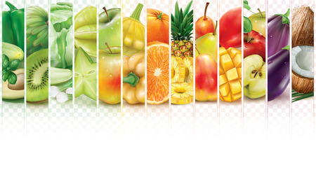 Colorful stripes with fruits and vegetables on a transparent background. Vector illustration Illustration