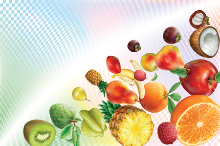 Colorful fruits on a transparent volumetric background. Vector illustration